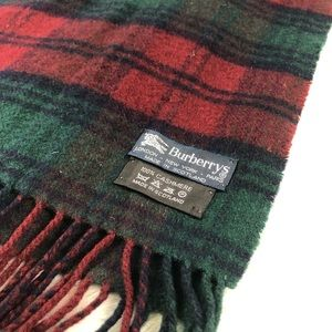 Burberry Vintage Cashmere Scarf Red Blue Green